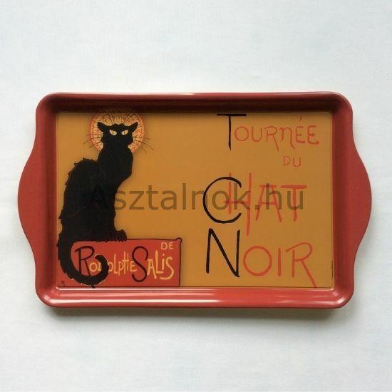Fekete macska fém  tálca
