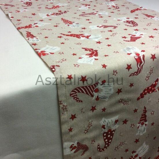 Karácsonyi manó mintás asztali futó