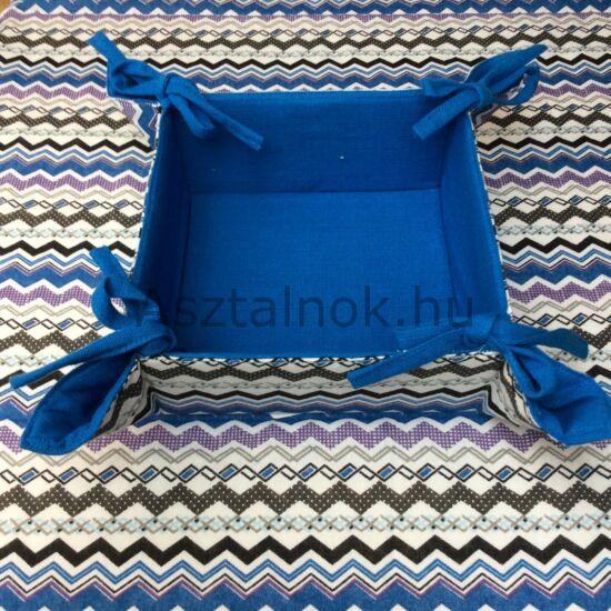 Cikk-cakk textil kenyérkosár kék