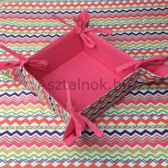 Cikk-cakk textil kenyérkosár rózsaszín