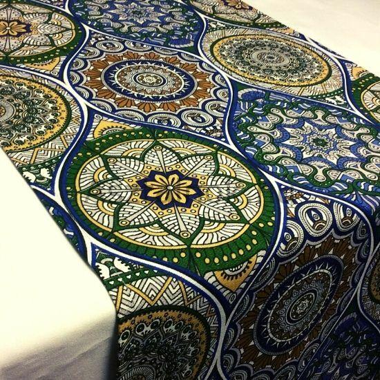 Mandala asztali futó kék-zöld