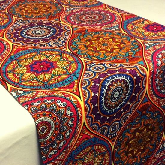 Mandala asztali futó narancs-piros