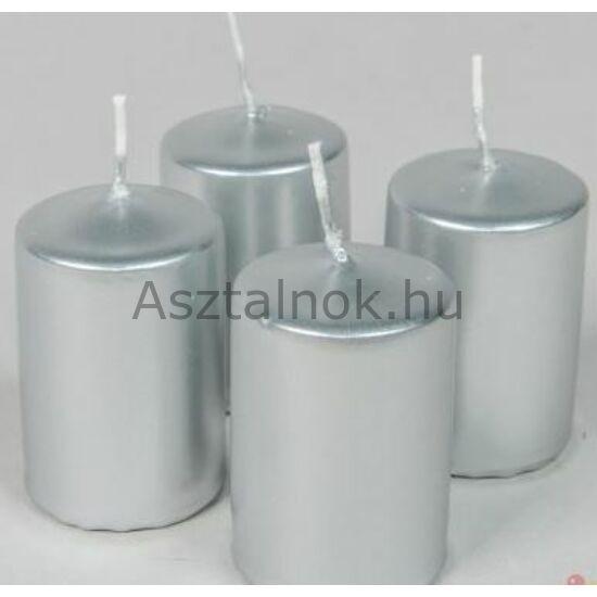 Ezüst metál gyertya 4 db-os készlet