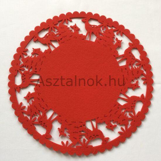 Téli erdő filc tányéralátét kerek piros