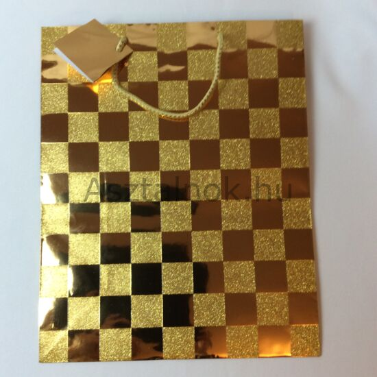 Sakktábla glitteres dísztasak arany