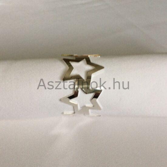 Ezüst csillag szalvétagyűrű készlet