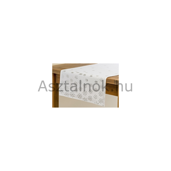 Ezüst hópihe asztali futó