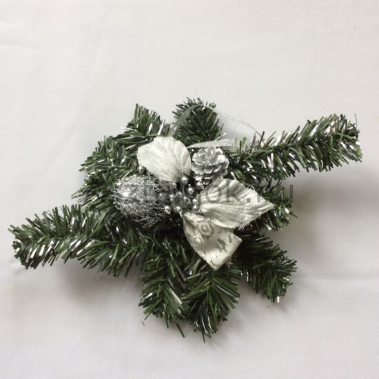 Ilex karácsonyi asztaldísz ezüst