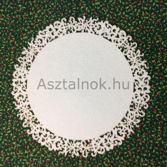 Fehér indák filc tányéralátét