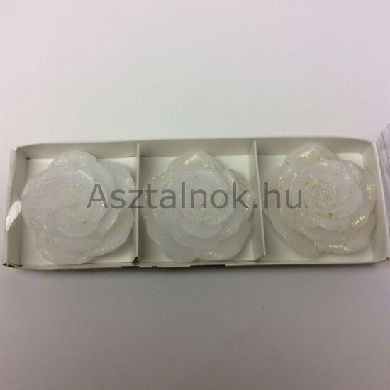 Rózsa gyertya készlet fehér