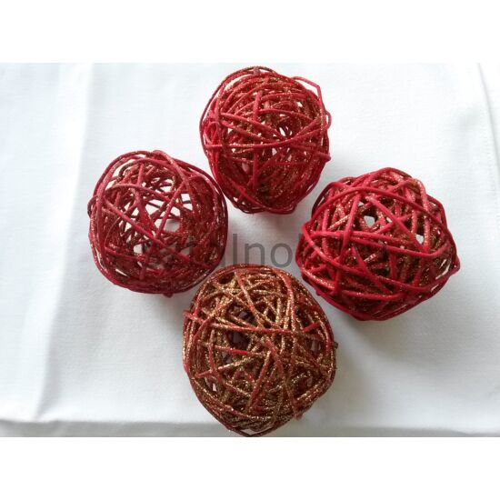Piros glitteres vessző gömb szett