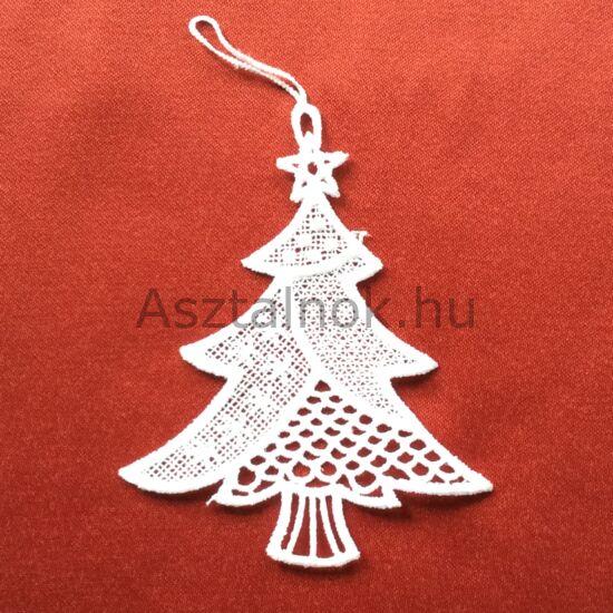 Karácsonyfa horgolt függő dísz