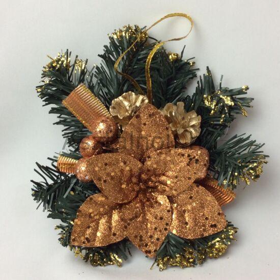 Mikulásvirág karácsonyi asztaldísz copper