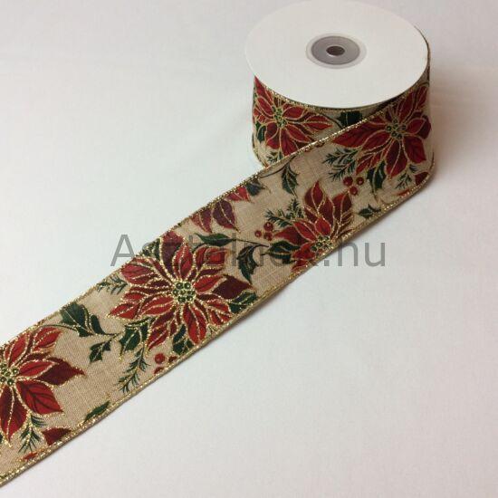 Mikulásvirág karácsonyi textil szalag