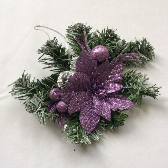 Mikulásvirág karácsonyi asztaldísz lila