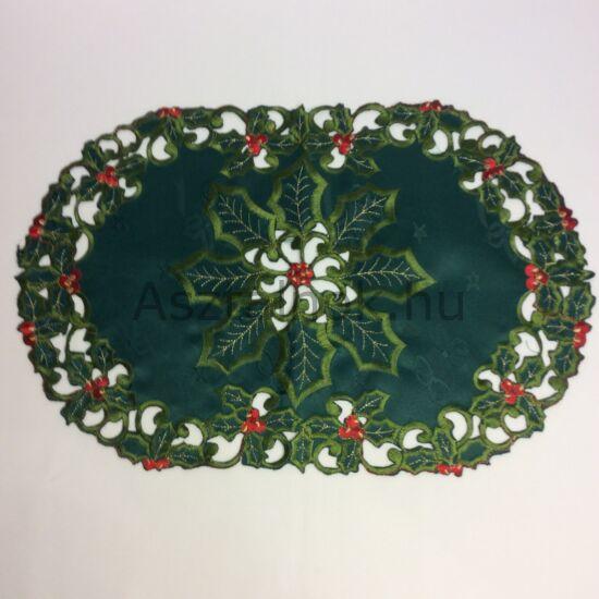 Magyallevél karácsonyi asztalközép terítő