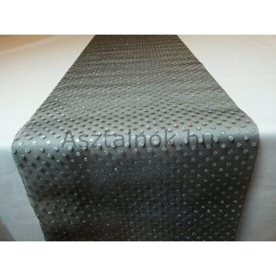 Konfetti organza asztali futó fekete-ezüst