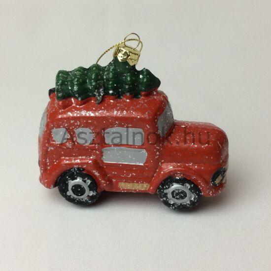 Piros autó karácsonyfadísz
