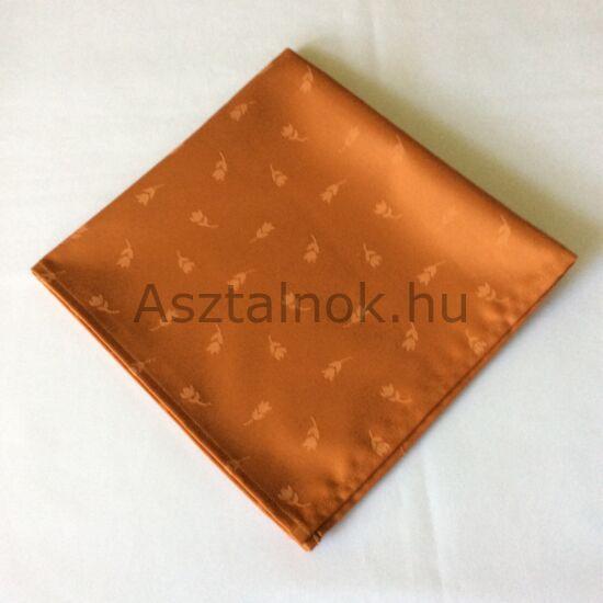 Tulipán damaszt textil szalvéta mandarin színű