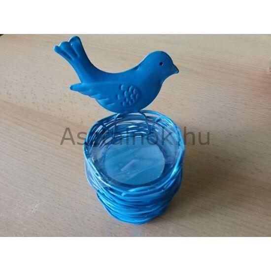Kismadár kék mécsestartó
