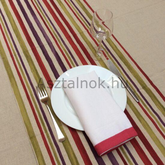 Lila piros csíkos asztali futó