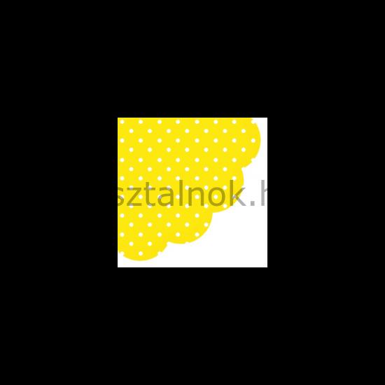 Sárga fehér pöttyös kör alakú papírszalvéta
