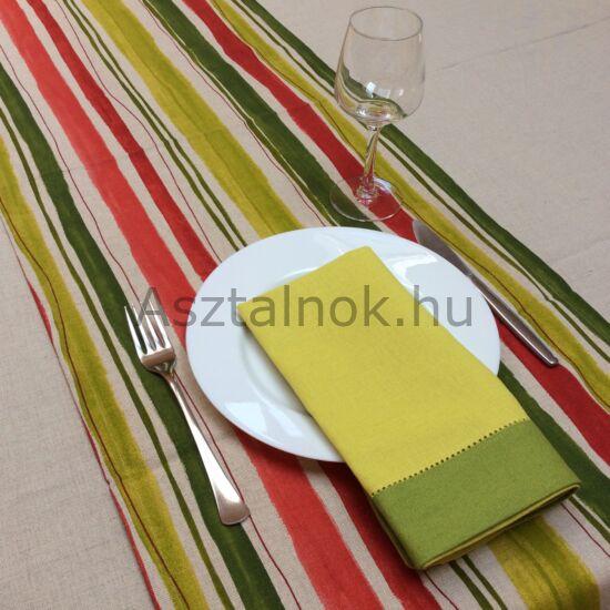 Piros zöld csíkos asztali futó